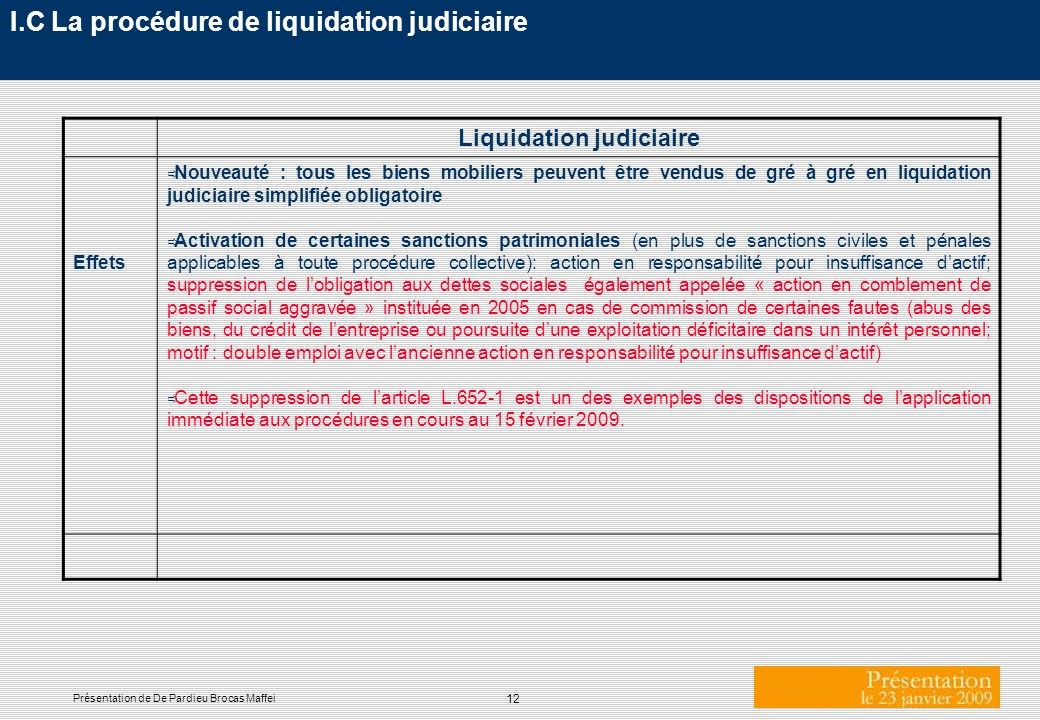 I.C La procédure de liquidation judiciaire