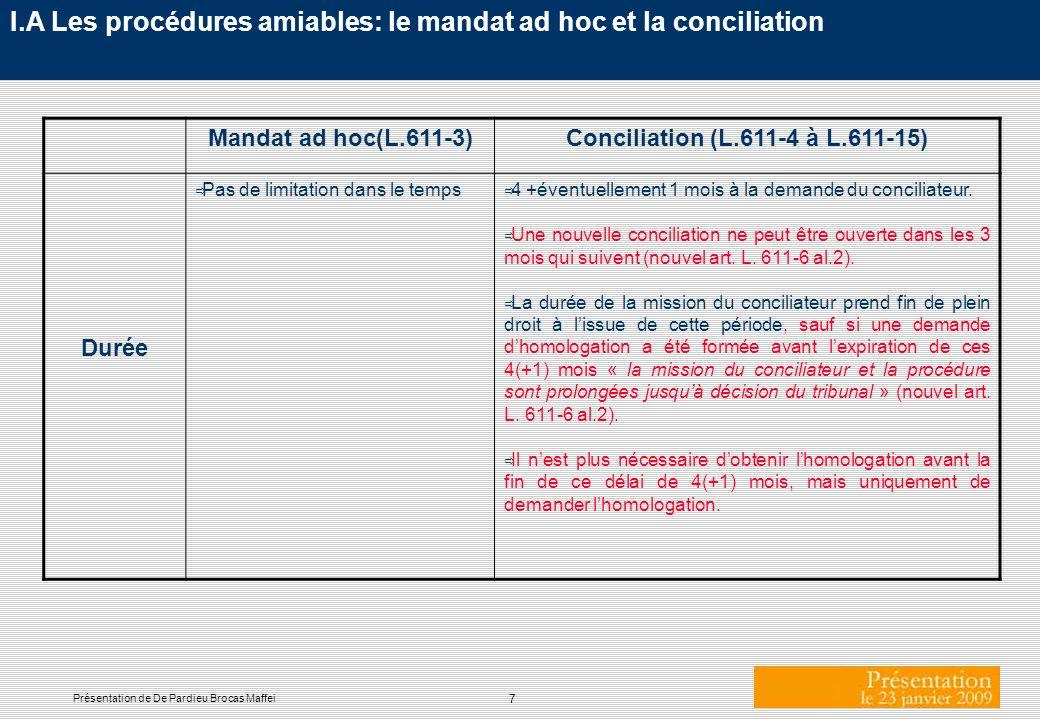 I.A Les procédures amiables: le mandat ad hoc et la conciliation