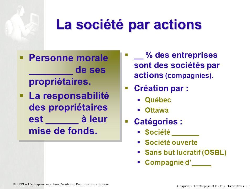 La société par actions Personne morale ________ de ses propriétaires.
