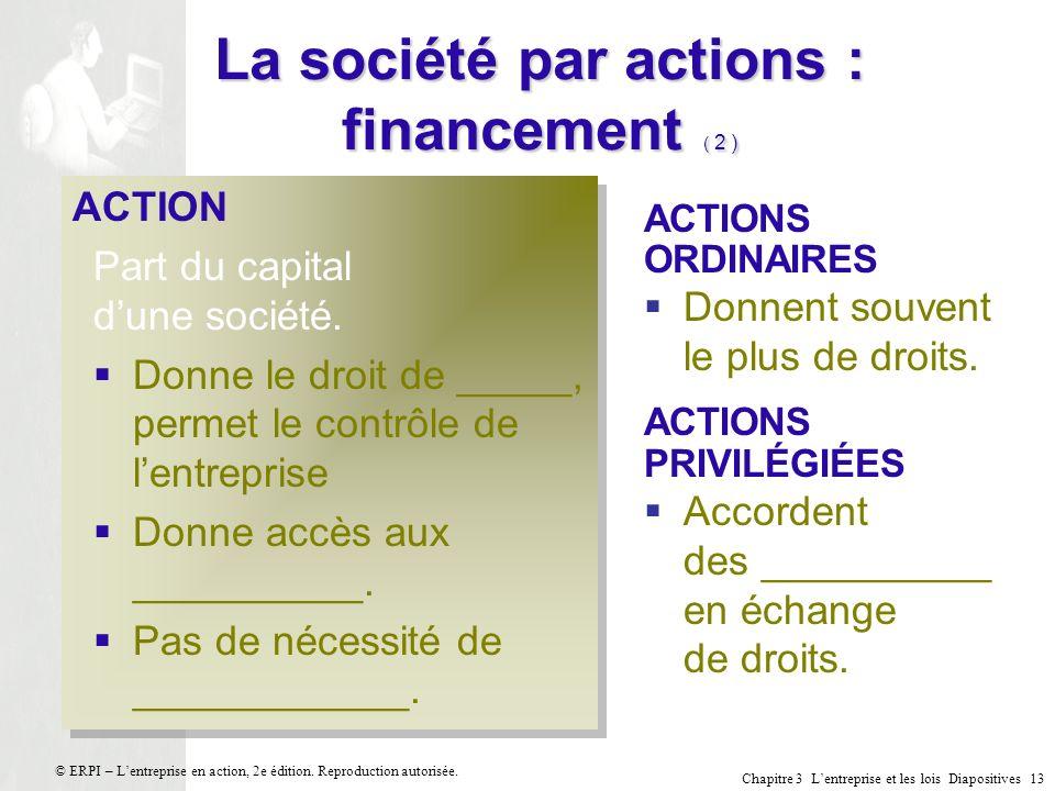 La société par actions : financement ( 2 )