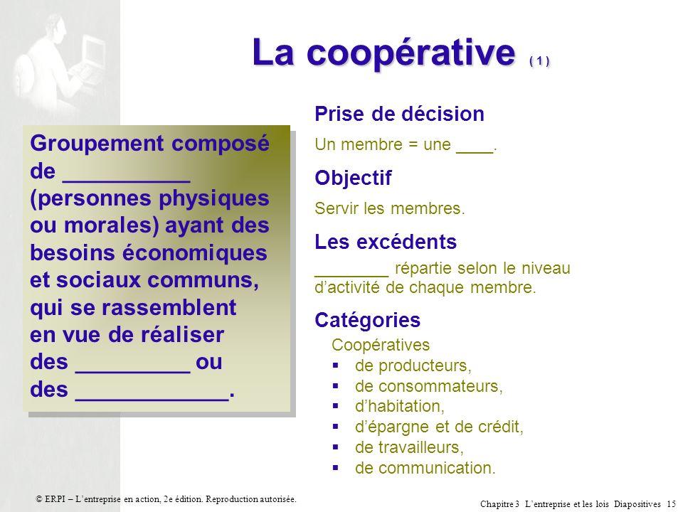 La coopérative ( 1 ) Prise de décision. Un membre = une ____. Objectif. Servir les membres. Les excédents.
