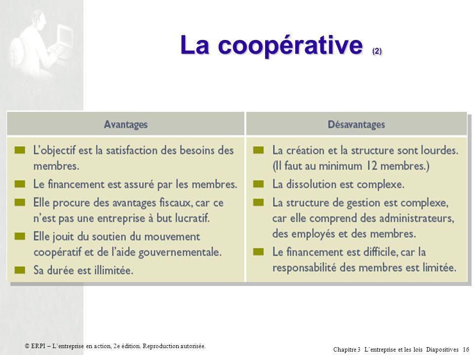 La coopérative (2) © ERPI – L'entreprise en action, 2e édition. Reproduction autorisée.