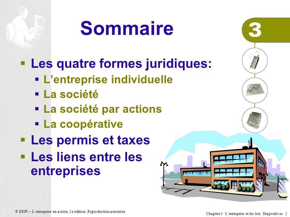 Sommaire Les quatre formes juridiques: Les permis et taxes