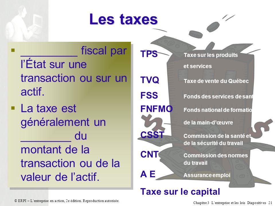 Les taxes _________ fiscal par l'État sur une transaction ou sur un actif.