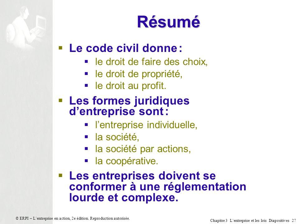 Résumé Le code civil donne : Les formes juridiques d'entreprise sont :