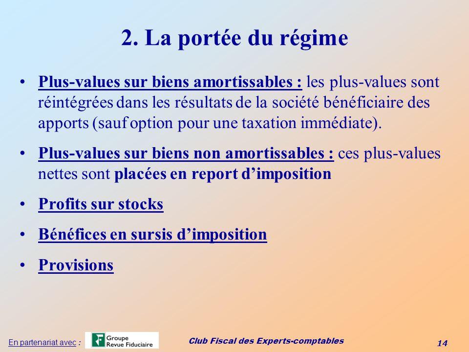 2. La portée du régime