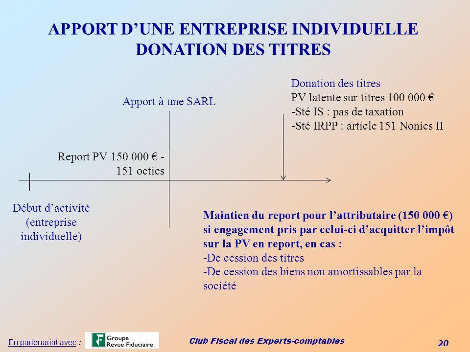 APPORT D'UNE ENTREPRISE INDIVIDUELLE