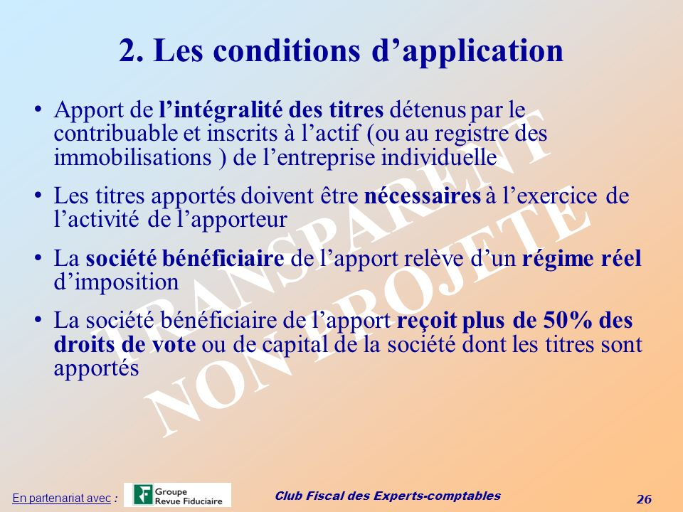 2. Les conditions d'application