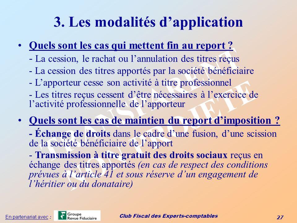 3. Les modalités d'application