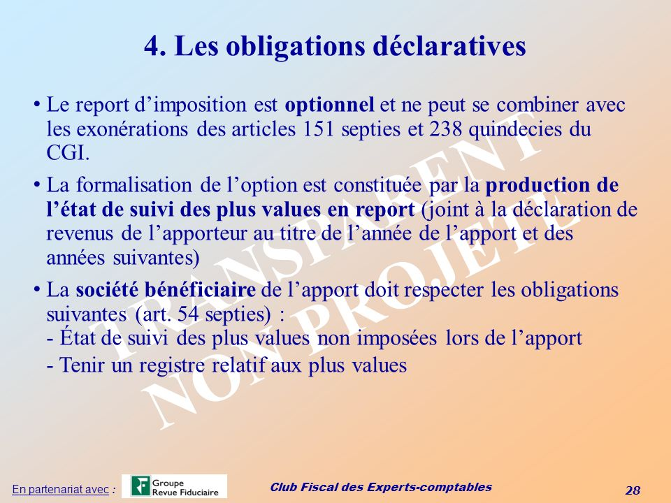 4. Les obligations déclaratives