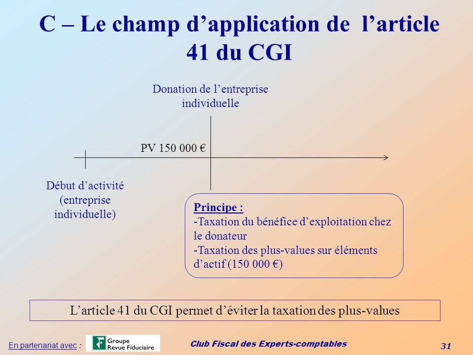 C – Le champ d'application de l'article 41 du CGI