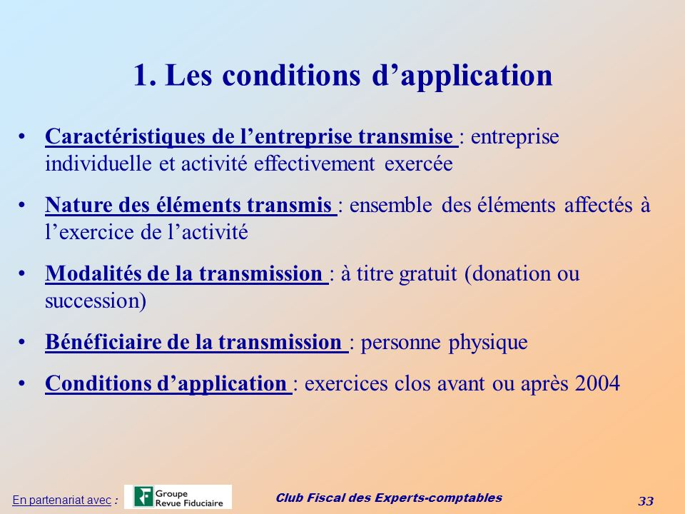 1. Les conditions d'application