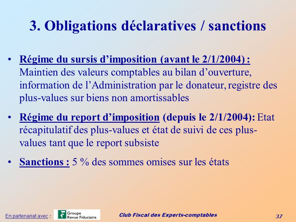 3. Obligations déclaratives / sanctions