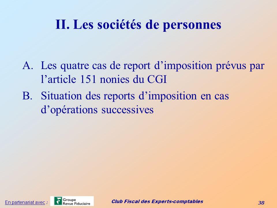 II. Les sociétés de personnes