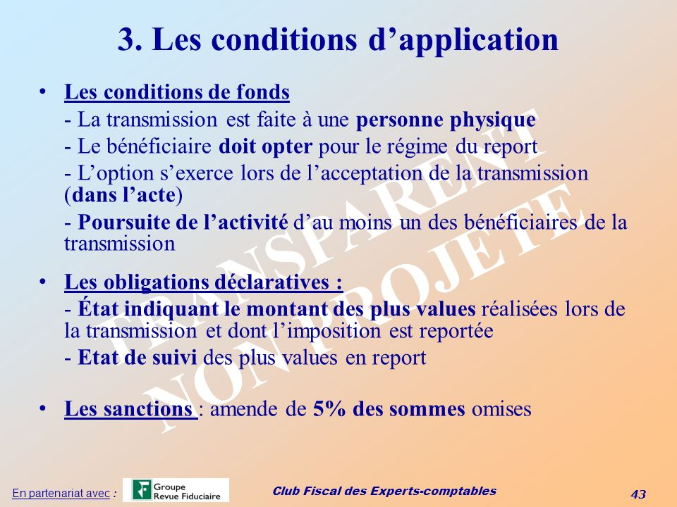 3. Les conditions d'application