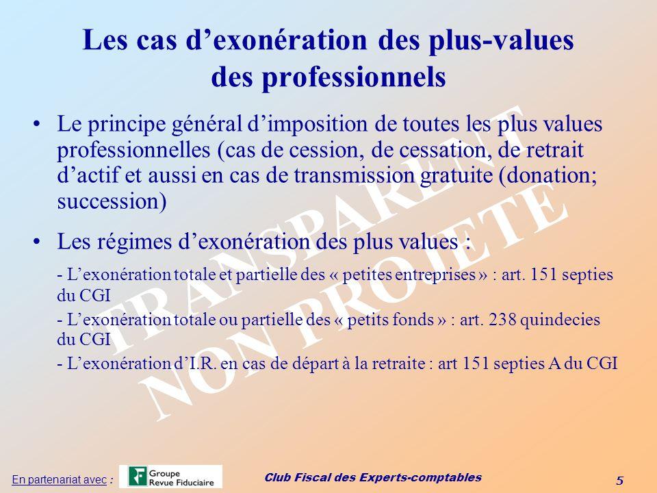 Les cas d'exonération des plus-values des professionnels