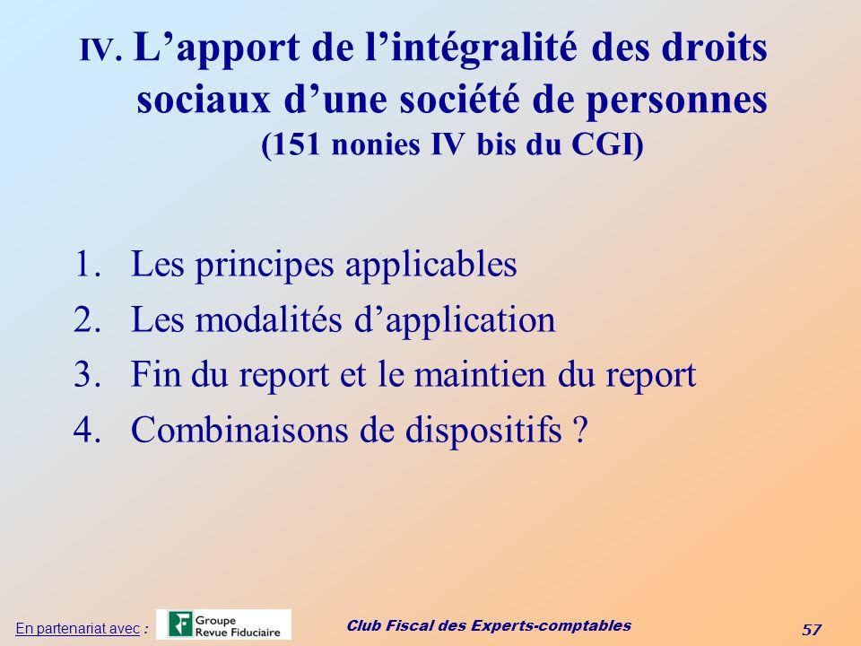 Les principes applicables Les modalités d'application