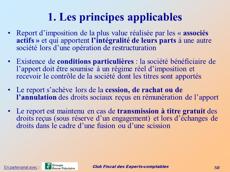 1. Les principes applicables
