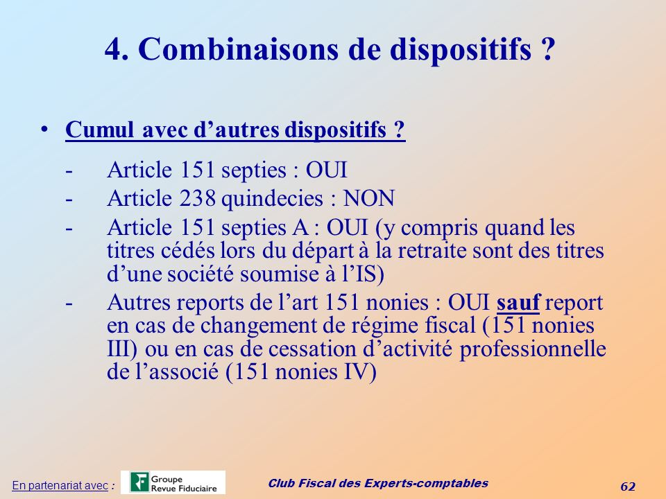 4. Combinaisons de dispositifs