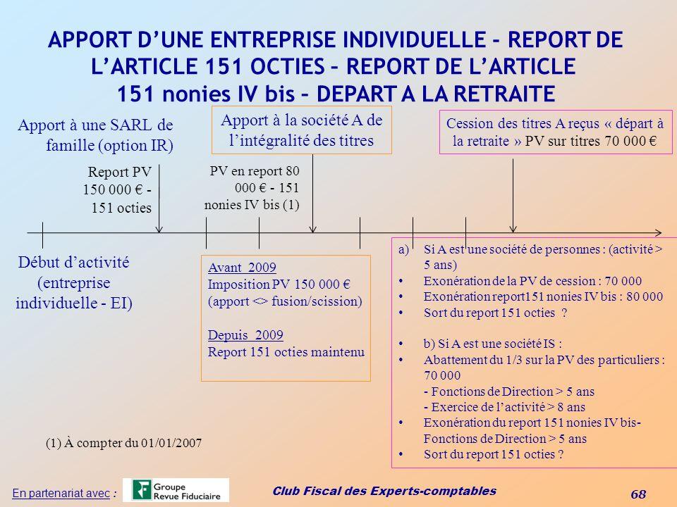 APPORT D'UNE ENTREPRISE INDIVIDUELLE - REPORT DE