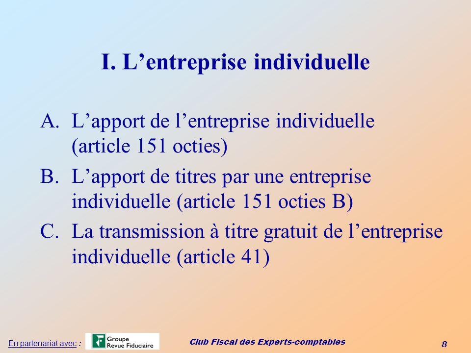 I. L'entreprise individuelle