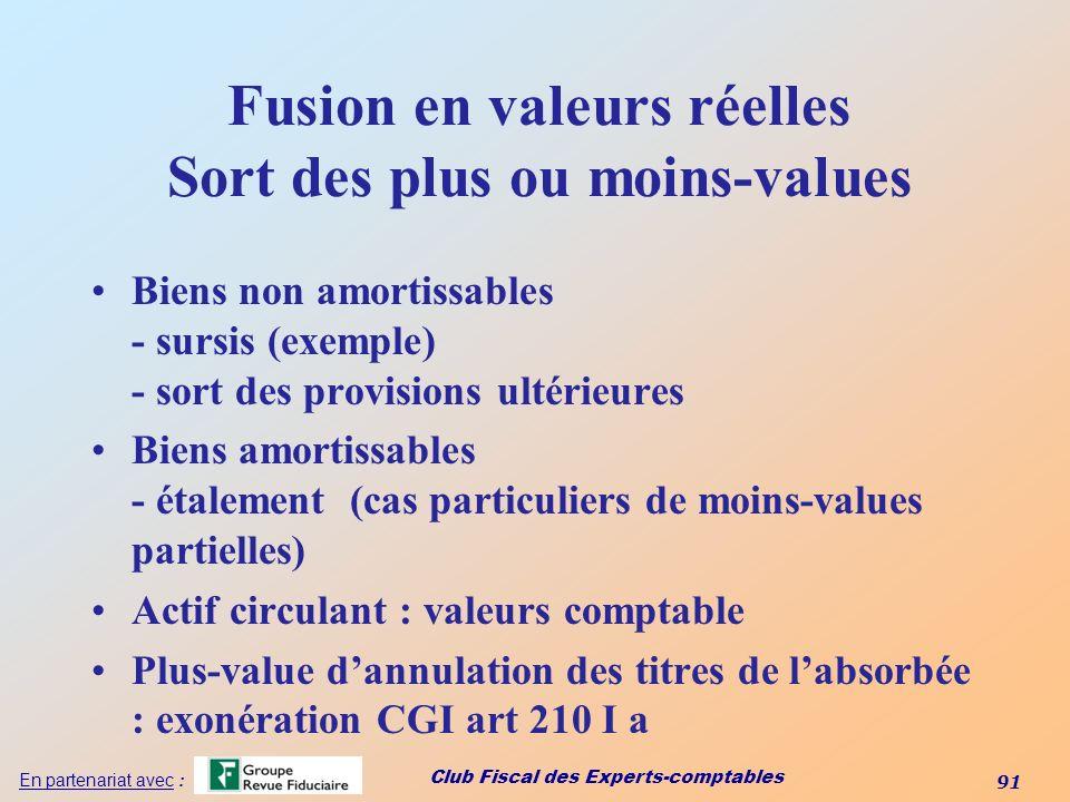 Fusion en valeurs réelles Sort des plus ou moins-values