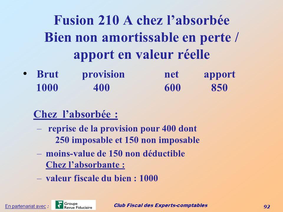 Fusion 210 A chez l'absorbée Bien non amortissable en perte / apport en valeur réelle