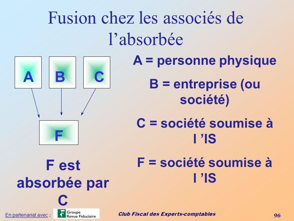 Fusion chez les associés de l'absorbée