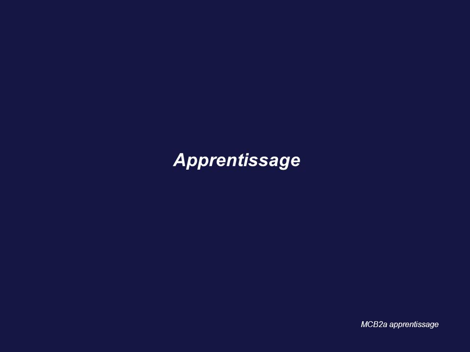 Apprentissage MCB2a apprentissage 10 10