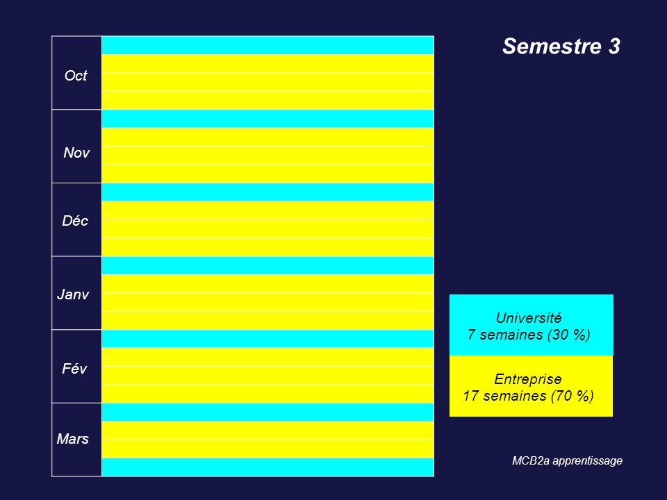 Semestre 3 Oct Nov Déc Janv Université 7 semaines (30 %) Fév