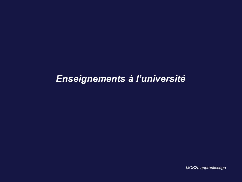 Enseignements à l'université