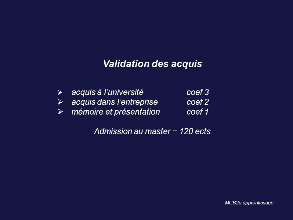 Admission au master = 120 ects