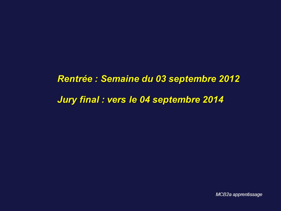 Rentrée : Semaine du 03 septembre 2012