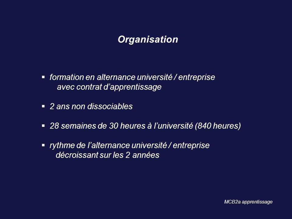 Organisation formation en alternance université / entreprise