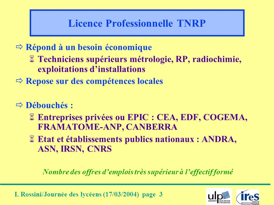 Licence Professionnelle TNRP