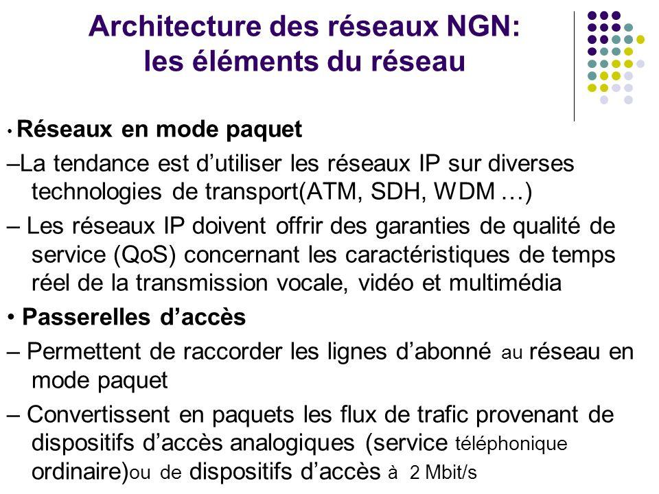 Architecture des réseaux NGN: les éléments du réseau