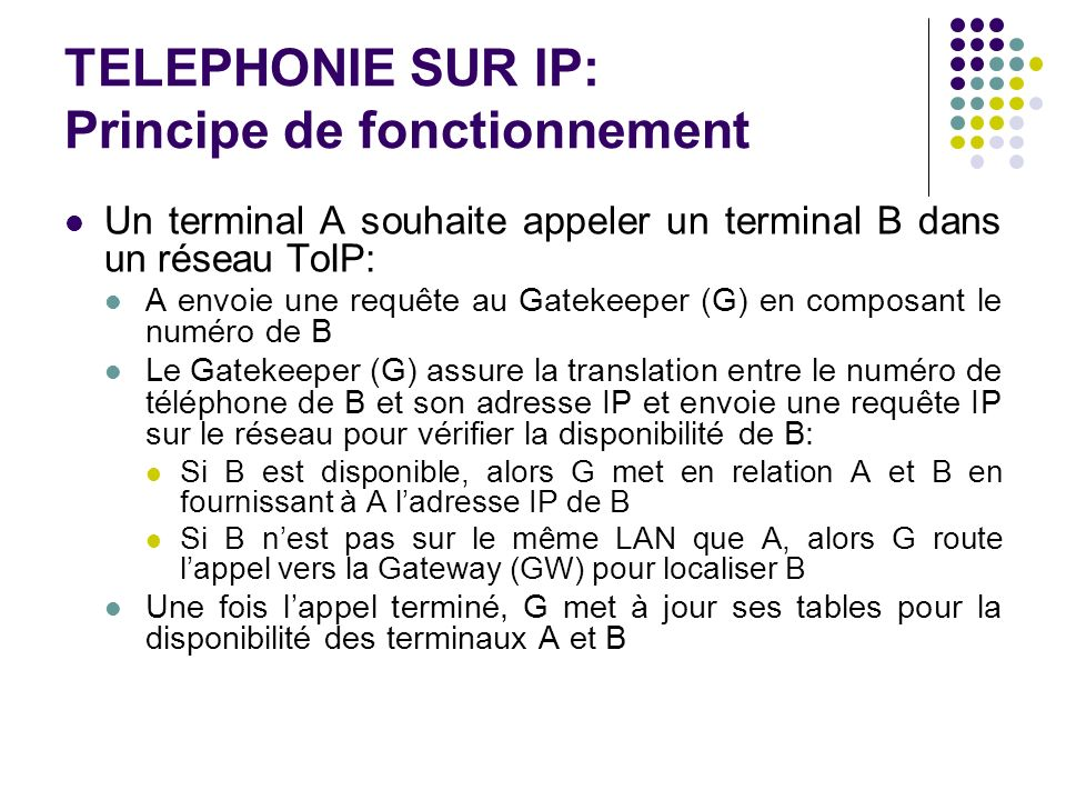 TELEPHONIE SUR IP: Principe de fonctionnement