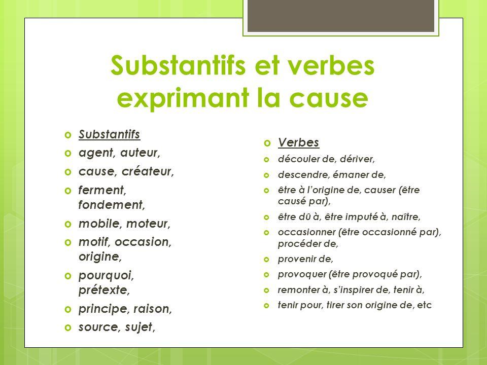 Substantifs et verbes exprimant la cause