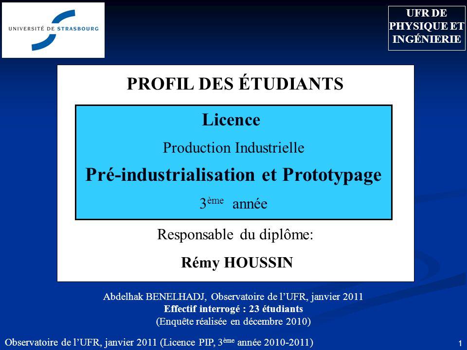 UFR DE PHYSIQUE ET INGÉNIERIE Pré-industrialisation et Prototypage