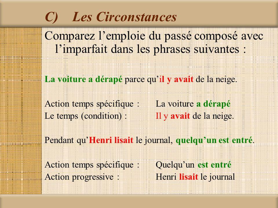 C) Les Circonstances Comparez l'emploie du passé composé avec l'imparfait dans les phrases suivantes :