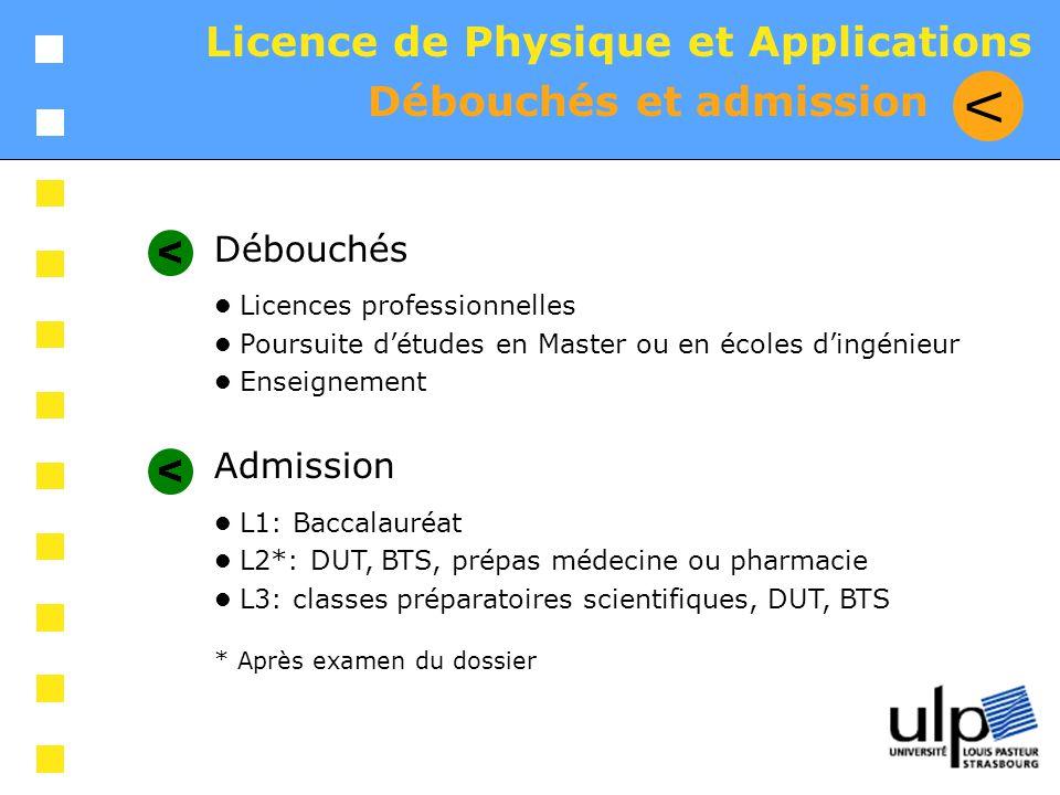 V Licence de Physique et Applications Débouchés et admission Débouchés