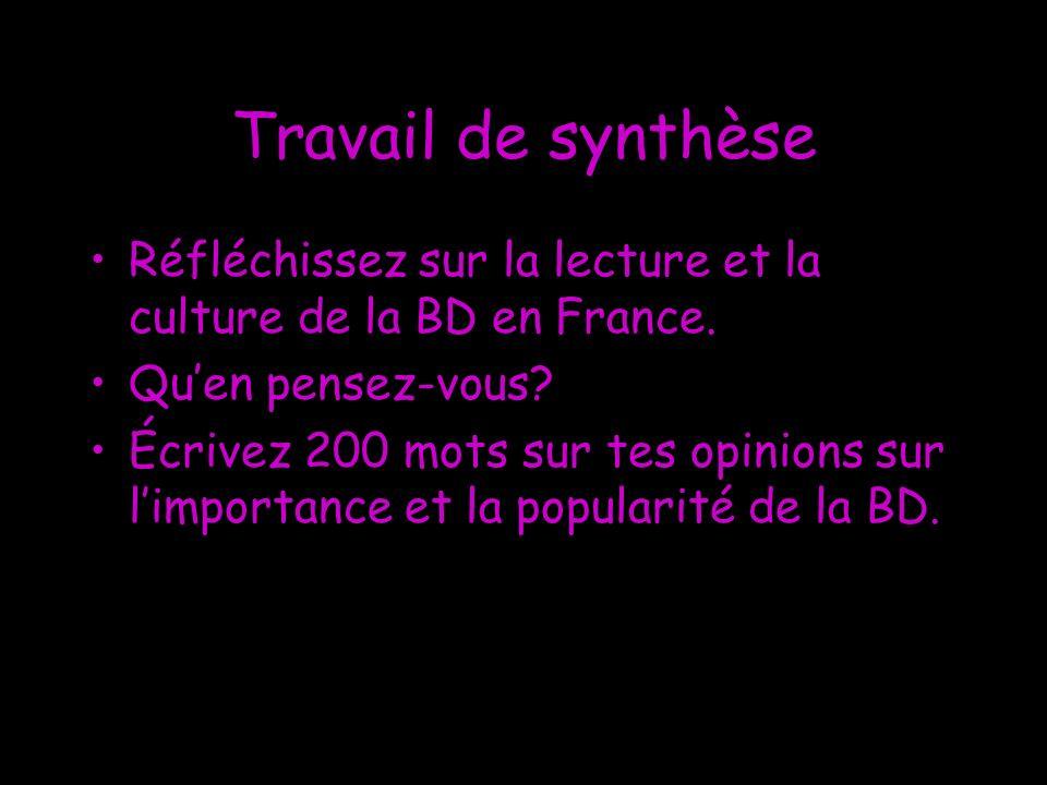 Travail de synthèse Réfléchissez sur la lecture et la culture de la BD en France. Qu'en pensez-vous