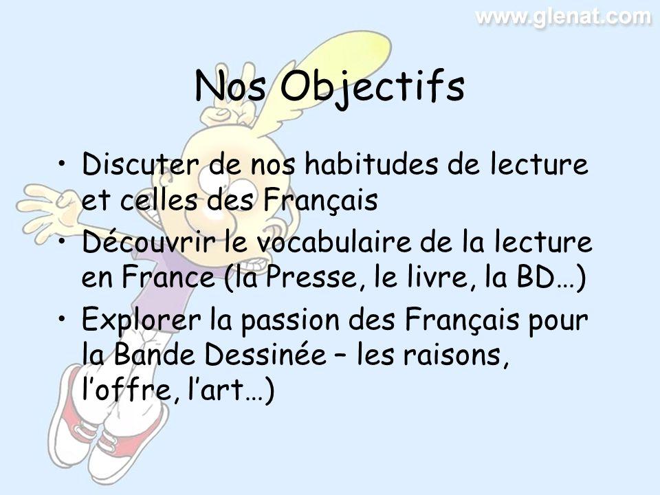 Nos Objectifs Discuter de nos habitudes de lecture et celles des Français.
