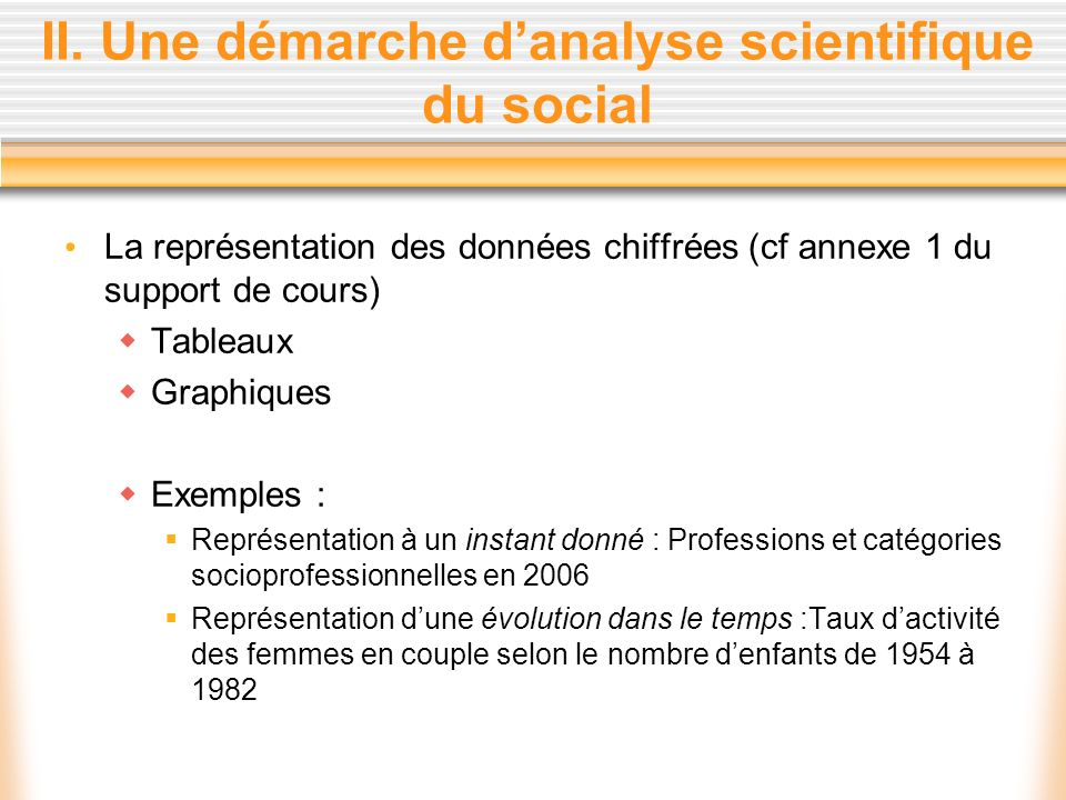 II. Une démarche d'analyse scientifique du social