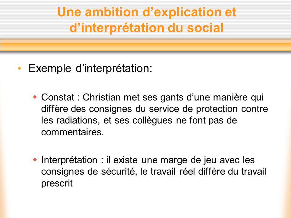 Une ambition d'explication et d'interprétation du social