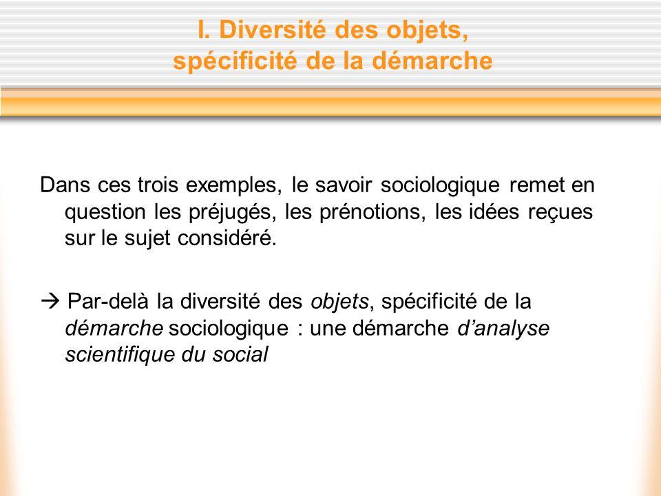 I. Diversité des objets, spécificité de la démarche