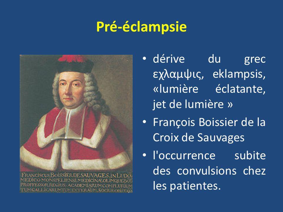 Pré-éclampsie dérive du grec εχλαμψις, eklampsis, «lumière éclatante, jet de lumière » François Boissier de la Croix de Sauvages.
