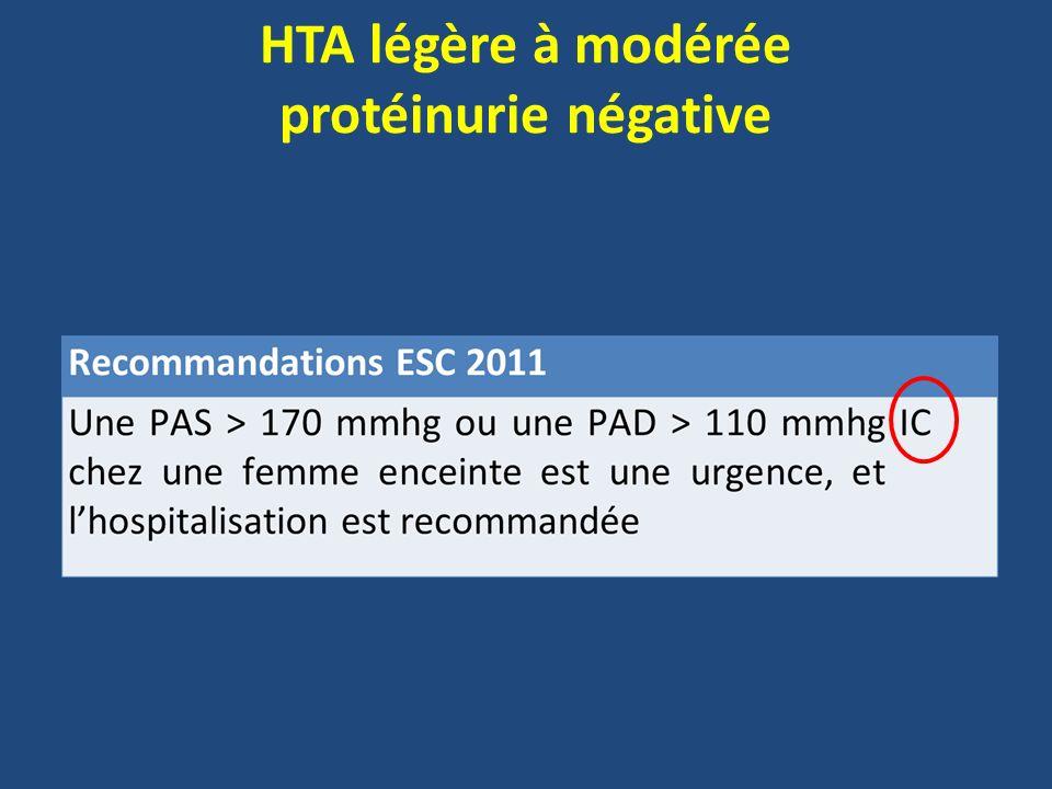 HTA légère à modérée protéinurie négative