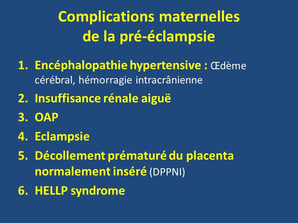 Complications maternelles de la pré-éclampsie