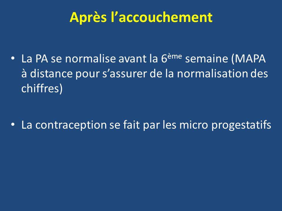 Après l'accouchement La PA se normalise avant la 6ème semaine (MAPA à distance pour s'assurer de la normalisation des chiffres)